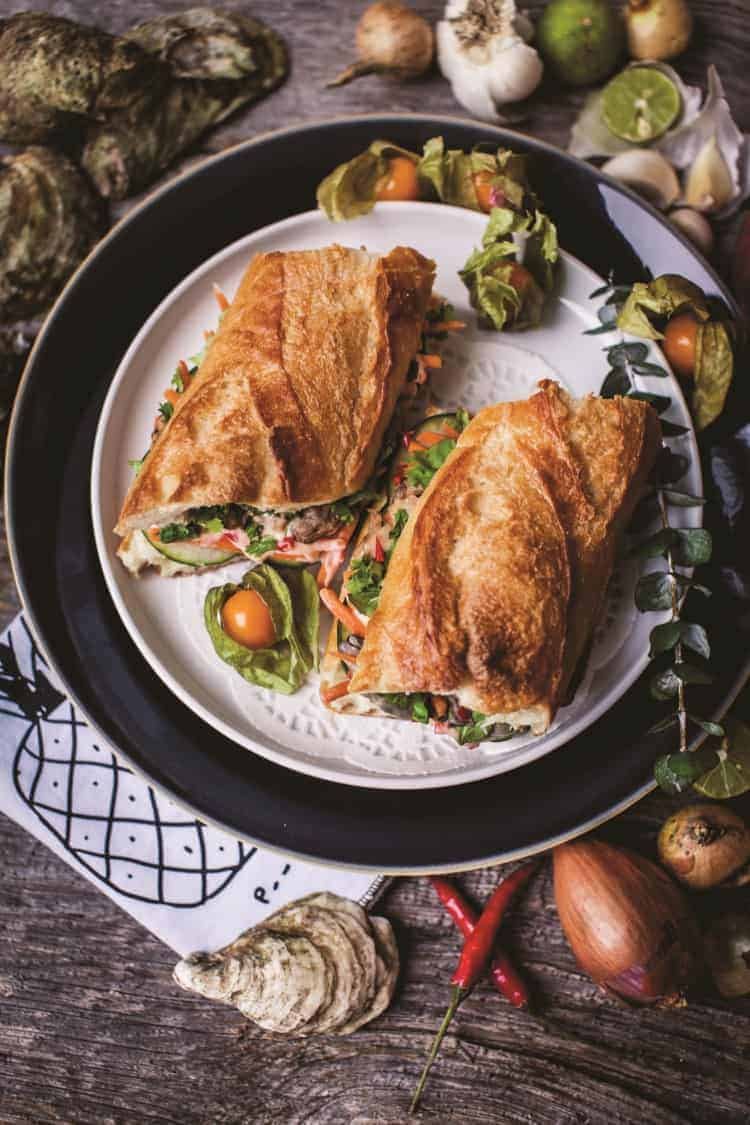 Fresh Oyster Banh Mi Sandwich from The Great Shellfish Cookbook | Photography copyright © 2018 Ksenija Hotic.