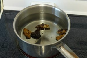 how to make chaga tea: chunks of chaga in a pot of water about to be simmered