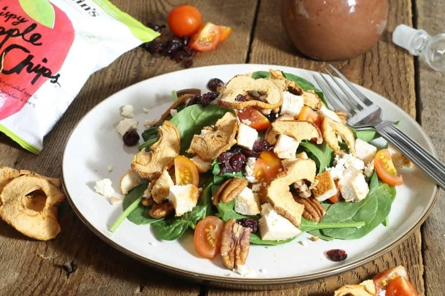 Crispy Apple Chip, Pecan, Chicken Spinach Salad
