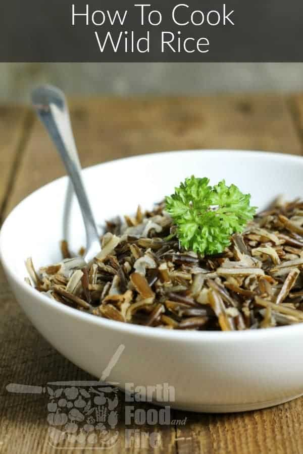 Learn how to cook wild rice on the stove. A healthy and delicious grain, wild rice is a great natural source of protein, fiber, and is gluten free! #wildrice #glutenfree #grains #howtocook