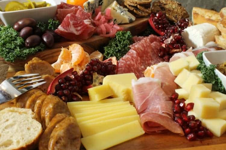 close up shot of a charcuterie platter showcasing height