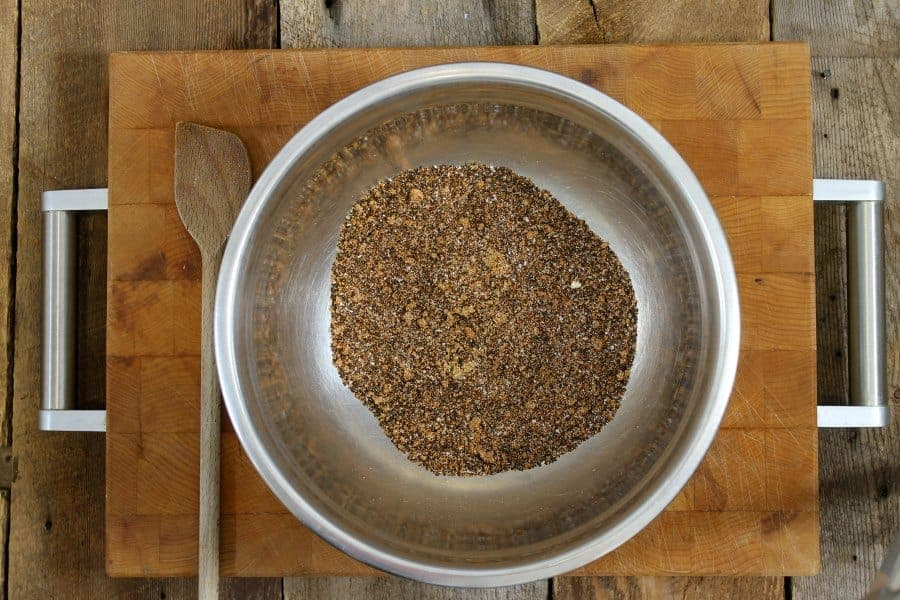 a stainless steel bowl filled with a coffee rub spice mixture