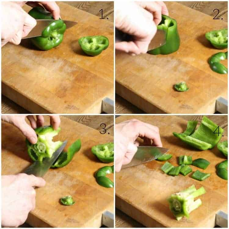 collage of images showing how to clean and dice a bell pepper
