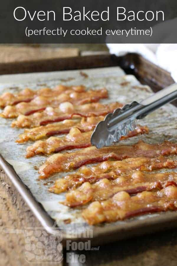 pinterest image with abnner of oven baked bacon strips on a sheet pan