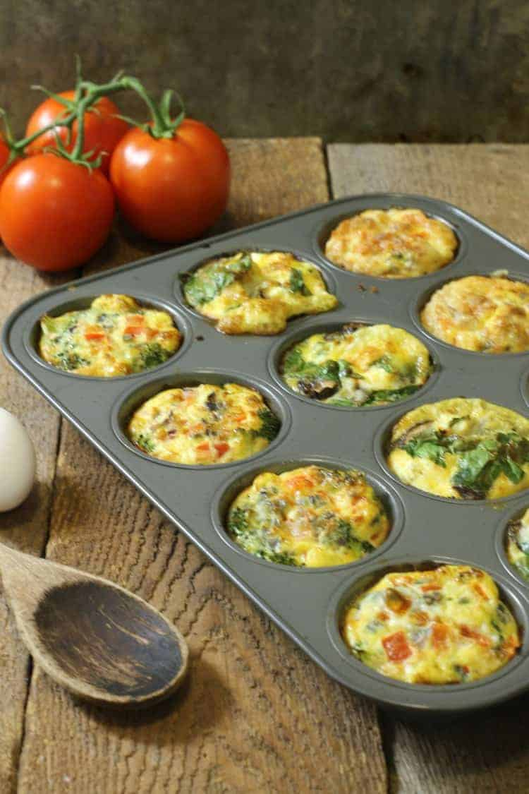 # varations of breakfast egg muffins in a 12 cup muffin tin