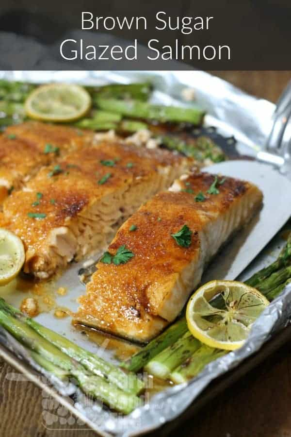 So simple and delicious, this brown sugar glazed salmon is one of the easiest baked salmon recipes you'll ever try. A quick one pan meal for any night.