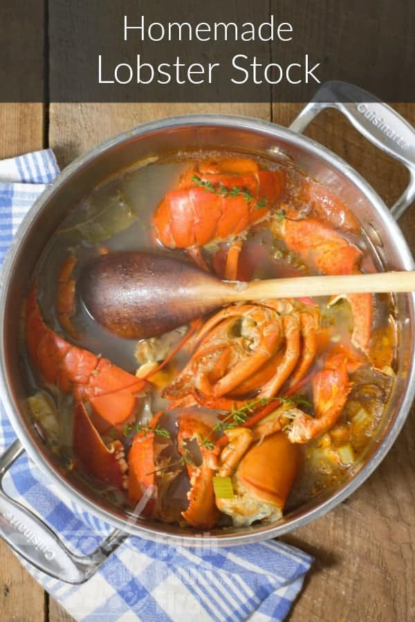 vertical pinterest image of lobster stock in a steel pot overlaid with a banner
