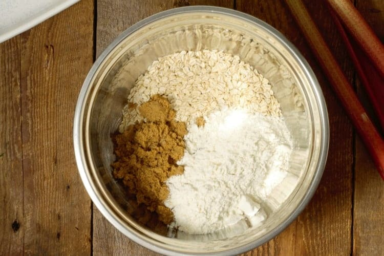 crumble topping ingredients in a steel bowl