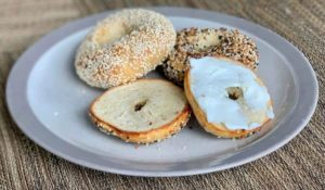 sourdough bagels on a breakfast plate