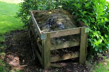 a wooden compost bin filled with rotting material.