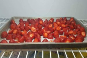 freezing strawberries on a tray in the freezer