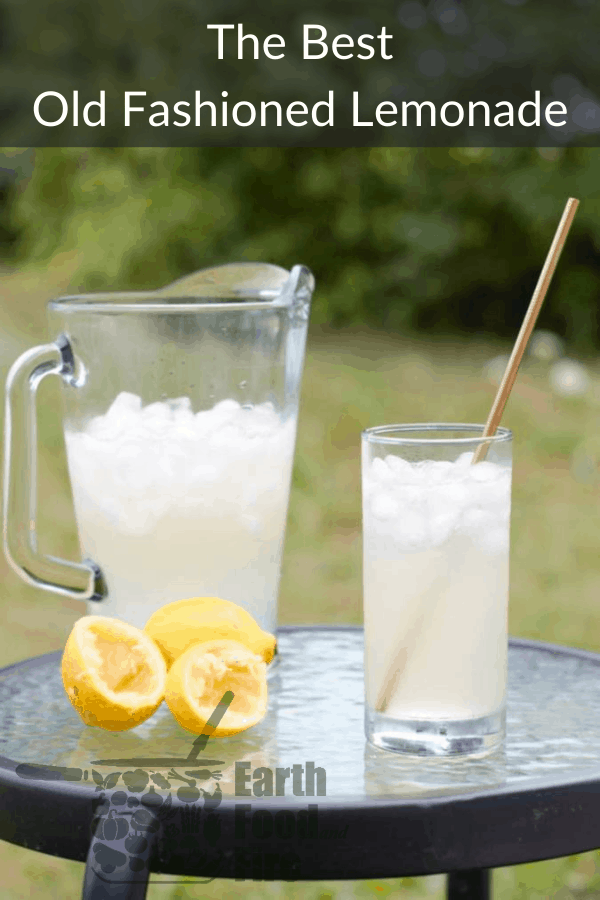 old fashioned lemonade served in a glass outdoors