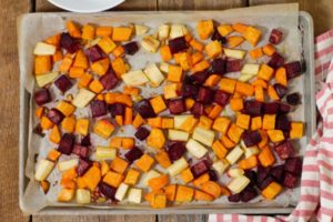 oven roasted root vegetables fresh from the oven