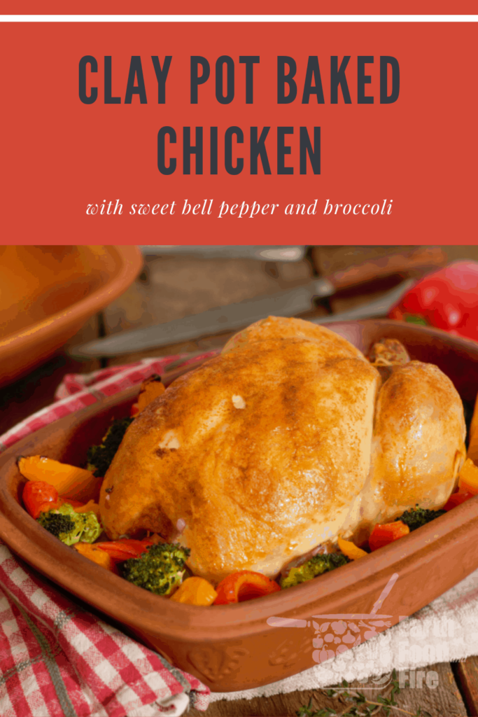 clay pot baked chicken recipe pin image