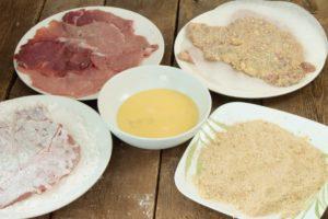 breading station for making pork schnitzel